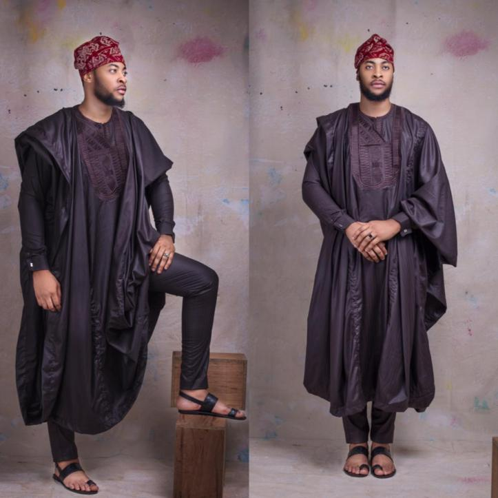 Brown-Agbada-and-black-sandals_StMorgan