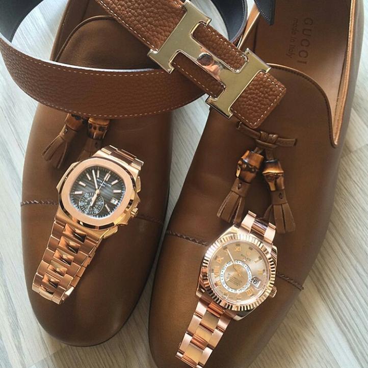 Patek Philippe, Rolex, Hermes belt and Gucci shoes