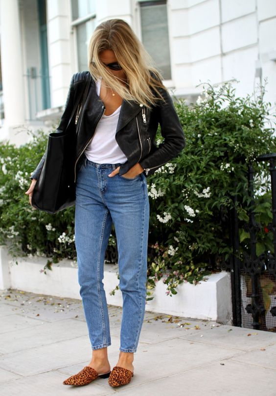 cropped moto jacket on mom jeans