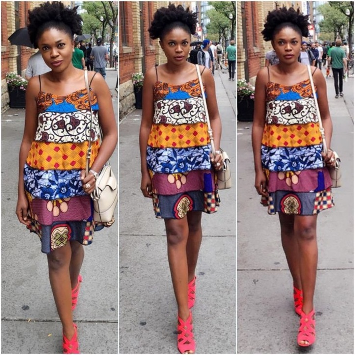 Omoni Oboli in a mixed print dress