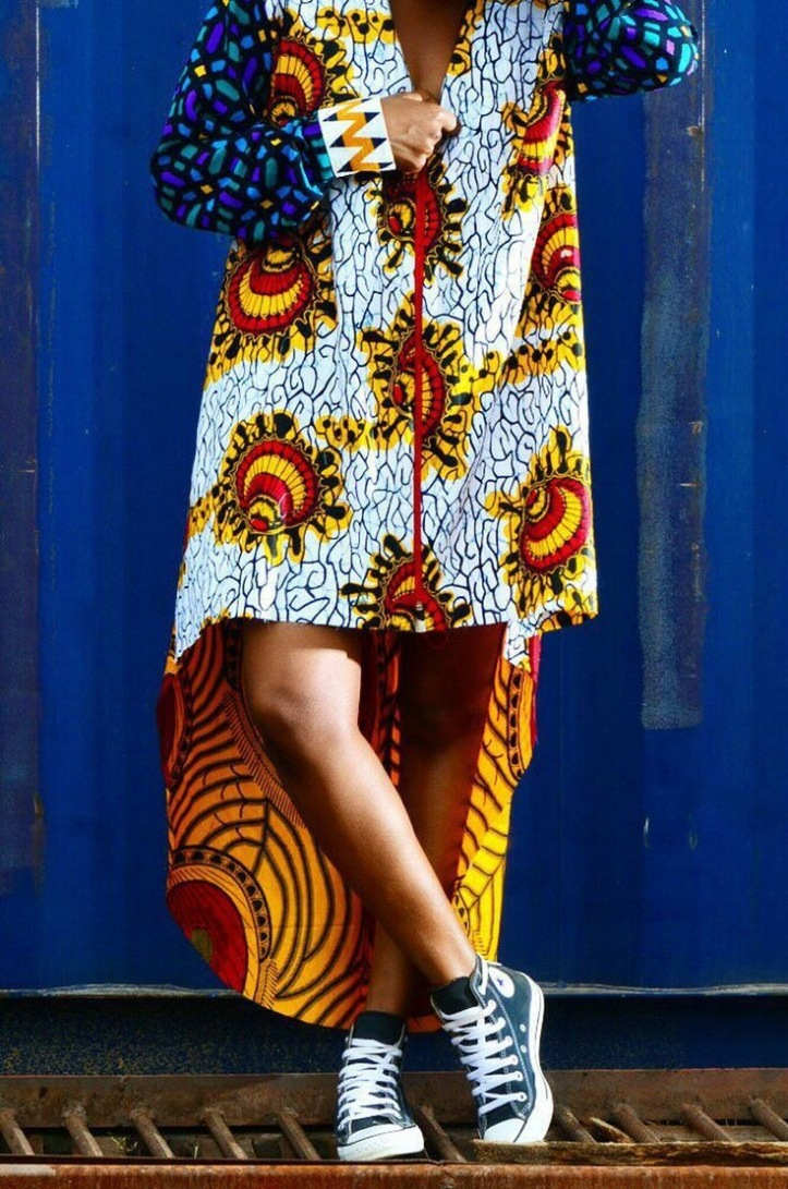 Ankara long-short shirt dress