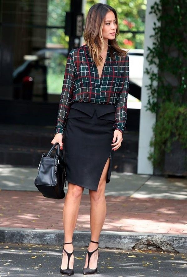 Lady in plaids shirt